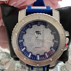 Bling flashy iced out blue silver watch